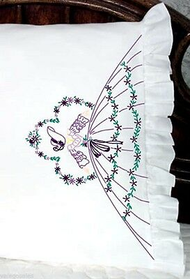 """Fairway Stamped Embroidery kit 20"""" x 30"""" Pillowcases ~ SOMBA LADY #82527 Sale"""