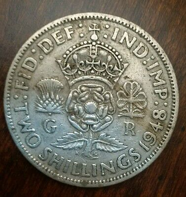 1948 Great Britain Uk George Vi Two 2 Shillings Coin