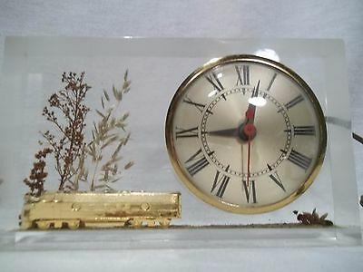 The Sessions Clock Company - Clear Lucite Clock with Brass Locomotive Train