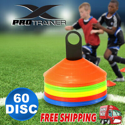 50 Pack Sports Training Discs Markers Cones Soccer Afl Exercise Personal Fitness