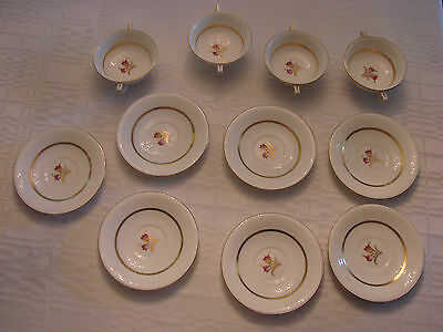 ANTIQUE MINTON DOVER Lot of 4 Footed Cream Soup Bowls  and 7 Saucers VERY RARE