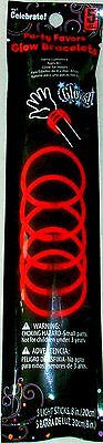 """5 Pack Red 8"""" Glow Stick Bracelet Rave Party Favor Disco New"""