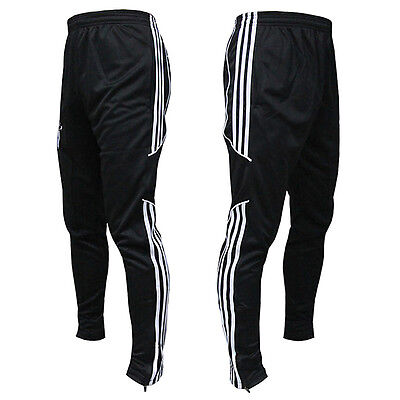 Mens Sport Soccer Training Running White Stripe Sweat Casual Pants Trousers
