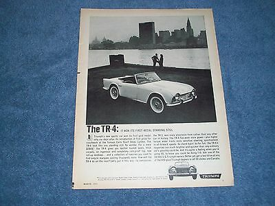 """1962 Triumph TR-4 Vintage Ad """"It Won Its First Medal Standing Still"""""""