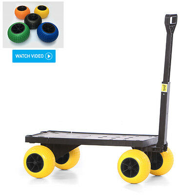 Plus One Cart 4 Wheel Flatbed Trolley Carts Hand Pull Dolly Platform Wagon Kart