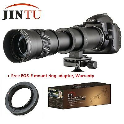 Super Telephoto Manual Zoom 420-800mm Camera Lens +T2 Mount for Canon EOS SLR