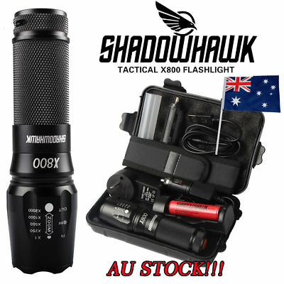 AU 8000LM Shadowhawk X800 CREE L2 LED ZOOM Flashlight Torch Rechargeable battery