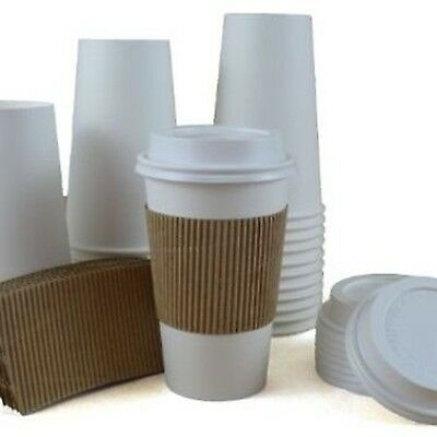 100 Paper Coffee Cup/Disposable Hot Cup 16 oz. WHITE with 100 Cappuccino Lids...