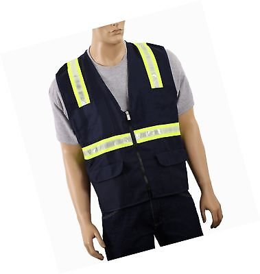 Safety Depot Two Tone Reflective Surveyor Safety Vest with Zipper and Pockets...