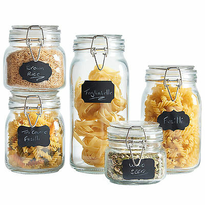 VonShef Set of 5 Clip Top Airtight Preserve Food Container Glass Storage Jars