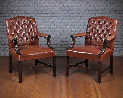 Pair George III Style Leather & Mahogany Armchairs c.1980