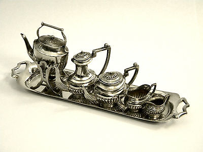 Vintage Solid Silver Miniature 5 Piece Tea Set & Tray Birm. 1959 Teapot, Coffee