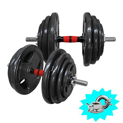 70kg Ez Grip Cast Iron Weight Dumbell Set - 45cm Dumbell Bar- Home Gym Weights