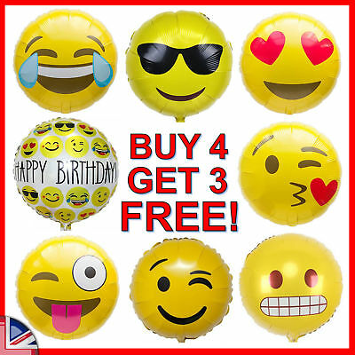 """18"""" Foil Emoji Balloons Helium Quality Smiley Face Yellow Kids Birthday Party UK"""