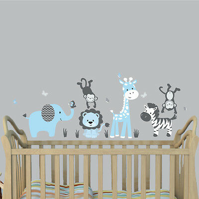 Jungle Animal Decal Nursery Boys Room Wall Sticker Mural