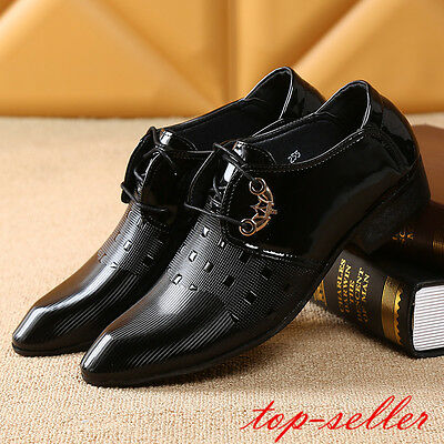 NEW Hot Men Pointy Toe Block Heels Wedding Dress Formal Leather Shoes Size