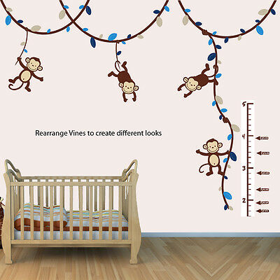 Boys Monkey Growth Chart Wall Decal Height Chart For Wall Monkey