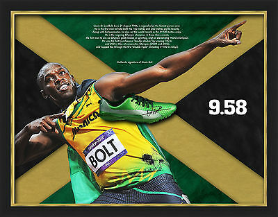 Usain Bolt FRAMED DOME Genuine Hand Signed Running Spike JAMAICA WITH PROOF (A)