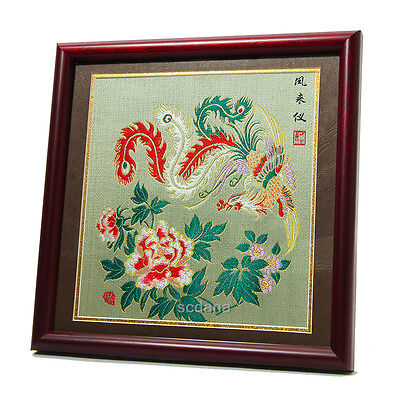 Handmade Chinese Shu Brocade Weaving Shuttle Loom Magical Phoenix Glass Frame