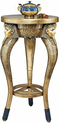 """29.5"""" Ancient Egypt Three Heads of King Tut Boy King Tripod Cocktail Side Table"""