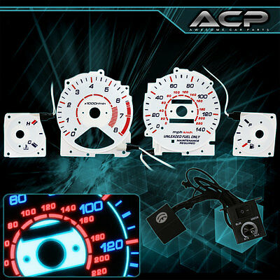 White Indiglo Gauge Dashboard Cluster 8K RPM Upgrade For 1994-1995 Accord JDM
