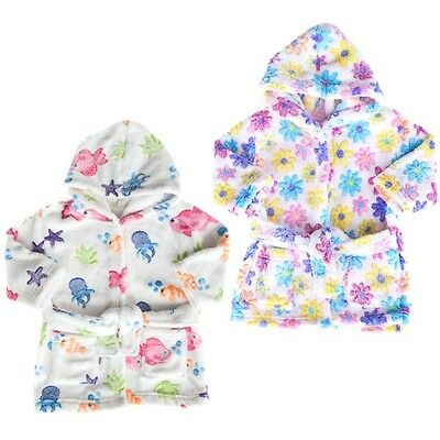 """Girls Baby Infants Toddler Hooded & Belted Bath Robe Dressing Gown """"3 Designs"""""""