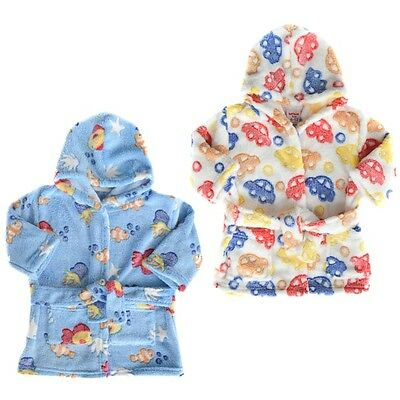 """Boys Baby Infants Toddler Hooded & Belted Bath Robe Dressing Gown """"3 Designs"""""""