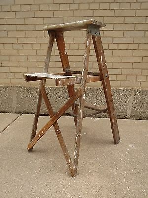 Vtg Wood Folding Step Stool Ladder Primitive Rustic Decor Plant Stand 36 inches