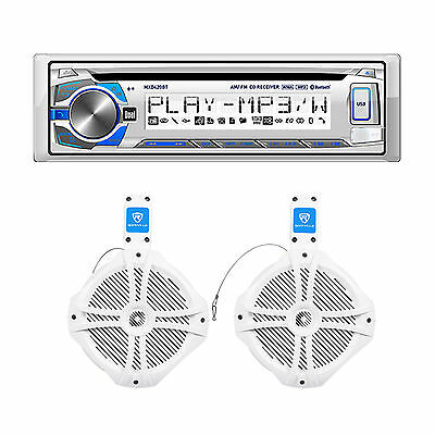 """New! Dual MXD420BT Marine Stereo/Receiver+(2) Rockville 8"""" Wakeboard Speakers"""