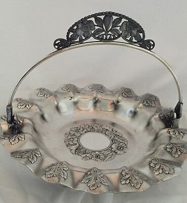 Silverplate Brides Basket Vtg Pairpoint Mfg Quadruple Silver Plate Repousse