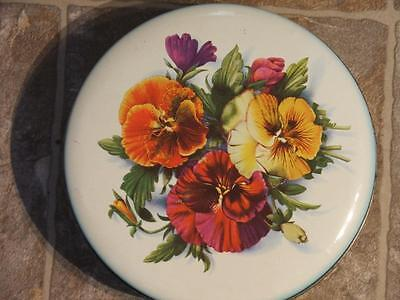 "Vtg Rare Round Crawford England Biscuit Tin Multicolour Flowers 8"" Across"