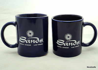Coffee Mug x 2 Sands Hotel Casino Las Vegas 8oz Cobalt Blue Ad NV defunct Vtg