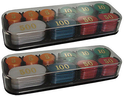 200 Colorful Acrylic JETONS with Plastic Covered Cases Poker! Table Games *