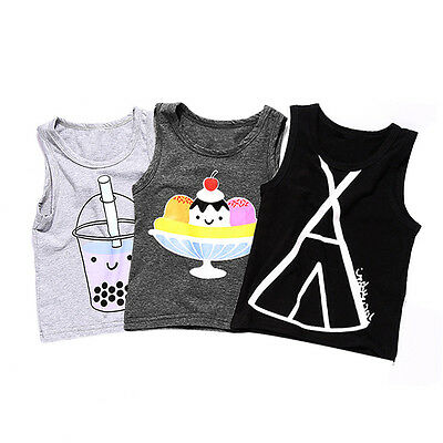 Toddler Kids Baby Boys Girls Summer Sleeveless Blouse Vest Tank Tops T-Shirt Tee
