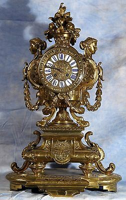 Antique French Exceptional Large Ornate Bronze 19th Century Mantel Clock Superb