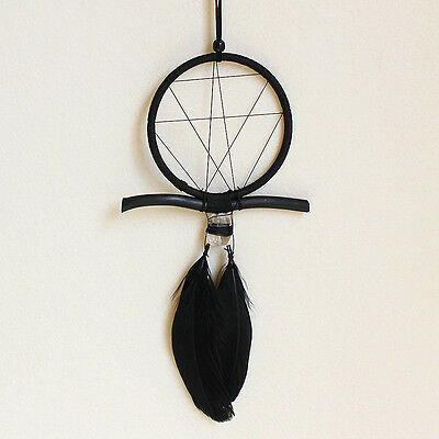 Black Handmade Dream Catcher Feathers Wall Hanging Decoration Car Ornament Gift