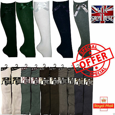 12 Pairs Girls Fashion Cotton Knee High Children Kids School Socks With Bow Size