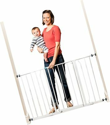 Easy Open Extra Wide Metal Walk Through Safety Gate For Toddlers Dogs White New