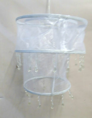 Brand New lampshade Bernice 2 Tiered Pendant white material beaded droplets