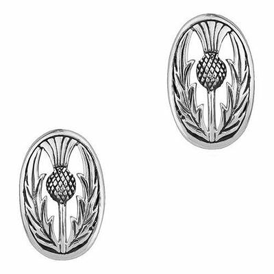 Scottish Thistle Silver Stud Earrings - Oval - Recorded Delivery