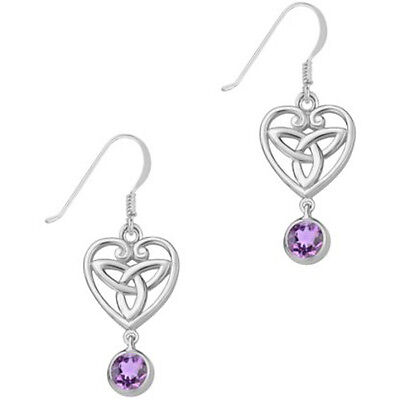 Celtic Sterling Silver and Amethyst Trinity Knot Earrings - Recorded Delivery