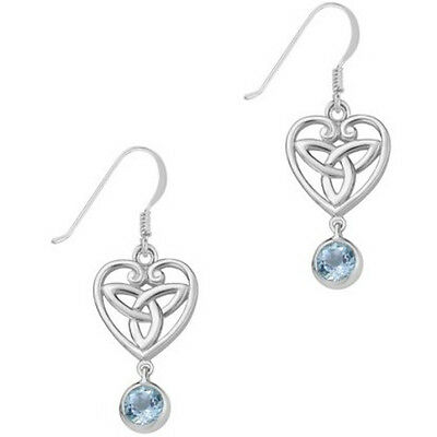 Celtic Sterling Silver and Blue Topaz Trinity Knot Earrings - Recorded Delivery