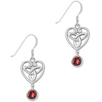 Celtic Sterling Silver and Garnet Trinity Knot Earrings - Recorded Delivery