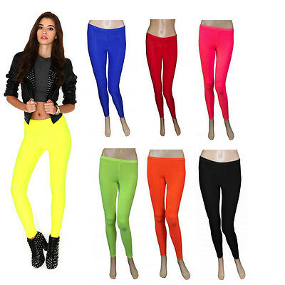 Ladies Girls Neon Lycra Stretchy Full Length Leggings-80's Disco Fancy Dress