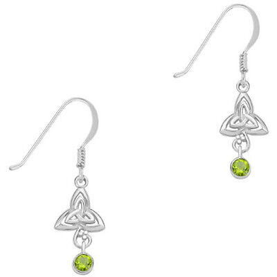 Celtic Sterling Silver and Peridot Trinity Knot Earrings - Recorded Delivery