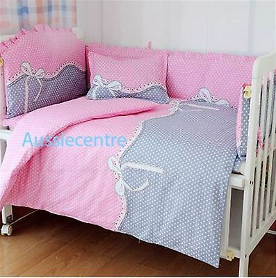 Baby Bedding Crib Cot Bumpers Quilt Sheet Set -- Pink/Grey Polka Dots New Design