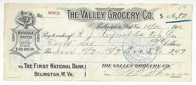 1910 USA Bank Check - Valley Grocery Co. - Belington, WV