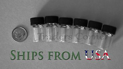6pc 5/8 OZ Dram Gold Prospecting Mineral Placer Gold Glass Vials with Cap