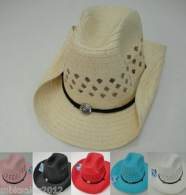 Bulk 10pc Colored Straw MESH Cowboy Cowgirl Western Hat w/ Chin Straps