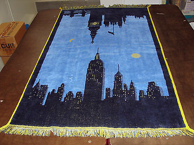 Vintage Cannon Royal Family Cotton NEW YORK & LONDON SKY LINE Fringed Towel